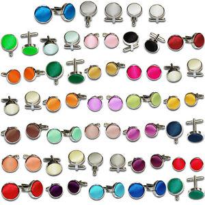 DQT-Mens-Cufflinks-Plain-Satin-Brass-Fabric-Inlay-Cuff-Links-FREE-Pocket-Square