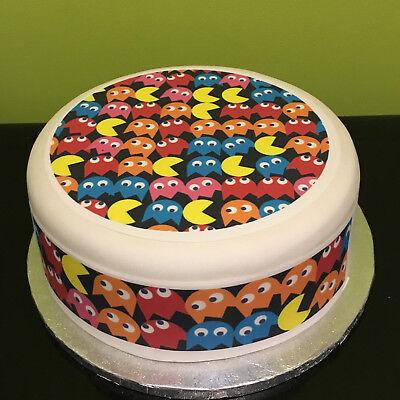 Cool Pacman Pre Cut Edible Icing Cake Topper Or Ribbon Ebay Funny Birthday Cards Online Alyptdamsfinfo