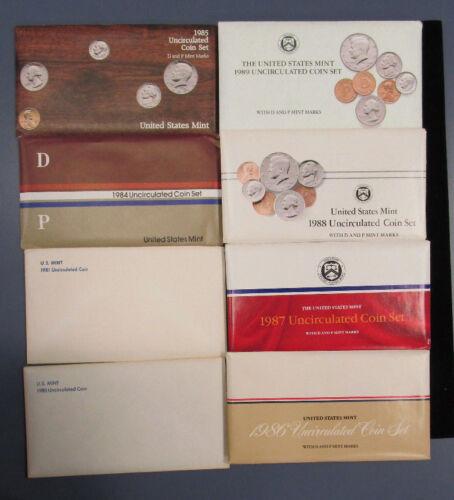 1981 1986 1985 1988 1987 1989 all 8 sets 1984 Mint set lot 1980