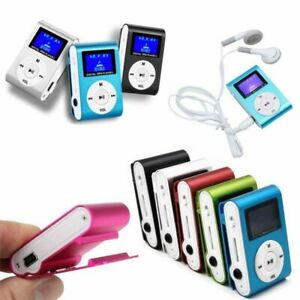 Mini-MP3-Player-mit-LCD-Display-Aluminium-Clip-Musik-Spieler-Tragbare-DE