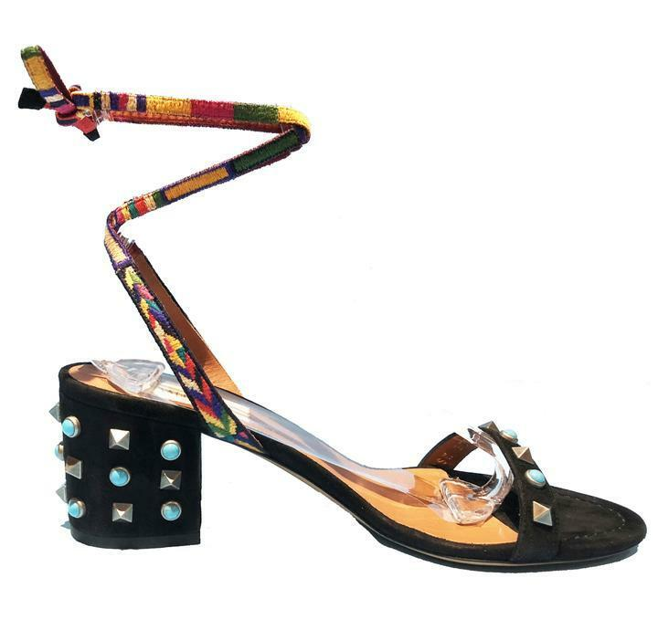 Valentino Rockstud Rockstud Rockstud Sandals Rolling Embroidered Black Leather Size 10 40 NIB 627f91