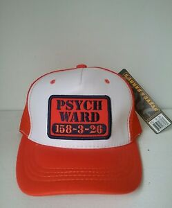 9ad8c7f3 Psych Ward 158-3-26 Orange Mesh Trucker Hat Cap with Snapback Strap ...