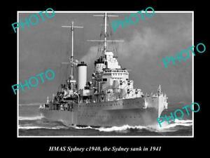 OLD-LARGE-HISTORICAL-PHOTO-OF-THE-WWII-AUSTRALIAN-BATTLESHIP-HMAS-SYDNEY-c1940
