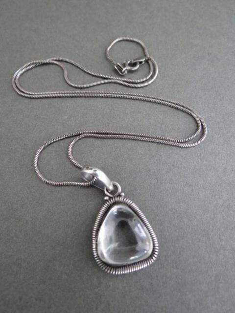 Vintage Sterling Silver Rock Crystal Quartz Pendant Necklace
