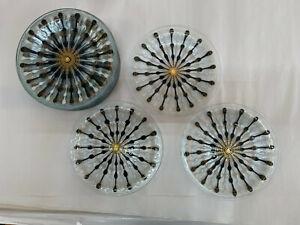 Higgins Studio Fused Art Glass Classic Line MCM Starburst gold white plate