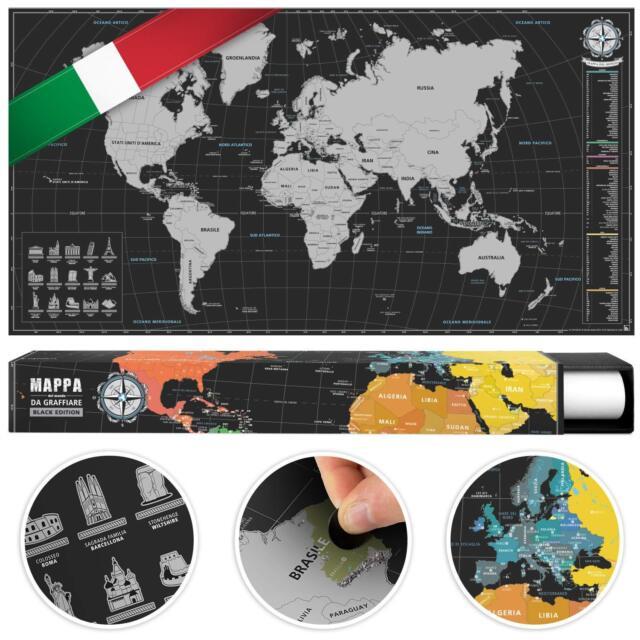 Cartina Mondo Che Si Gratta.Planisfero Poster Mappa Del Mondo Da Grattare Italiano Cartina Mondo A Graffio Ebay