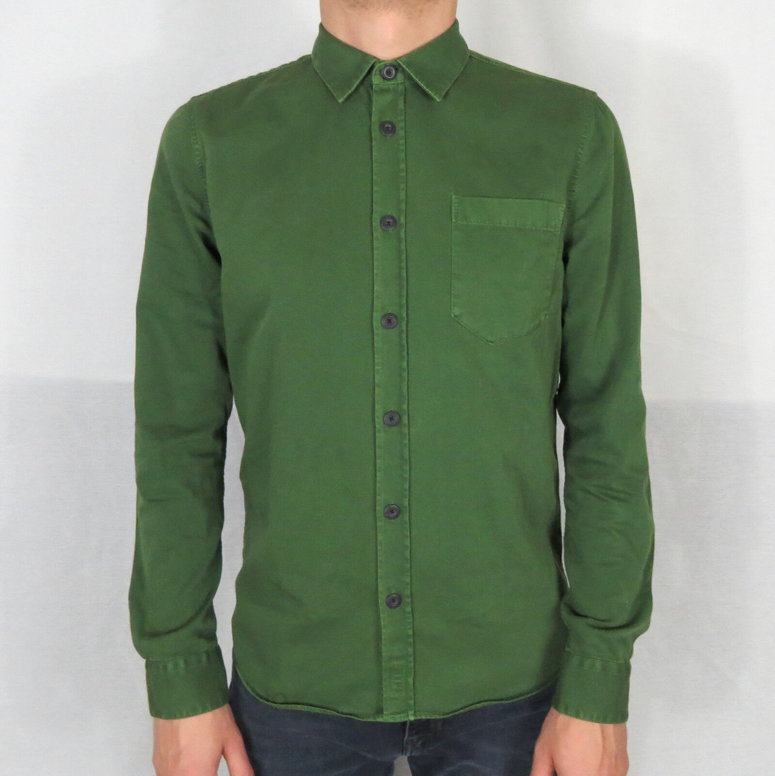 Nudie Henry  PIGMENT DYED  Uomini Camicia Shirt Grass 140501 6ae5e1