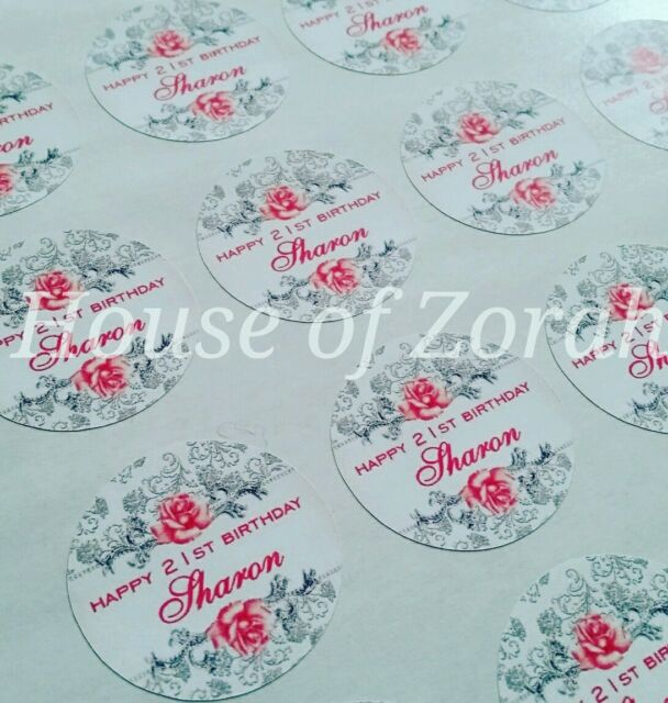 Personalised Silver Pink Rose Grey Wedding Party Thank You Stickers Labels