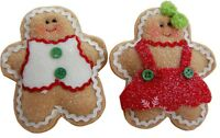 Gisela Graham Christmas Decoration Fabric Gingerbread Couple