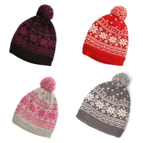 De Colección Estilo Copo De Nieve Bobble Sombrero islandés nórdicos Xmas Beanie Pompón Hat 4 Colores