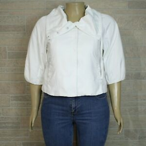 INC International Concepts Misses LARGE Light Jacket White Snap Front Cropped