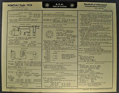1955 Pontiac Eight Tune Up Chart Wiring Diagram Star Chief Chieftain Original 55 Ebay