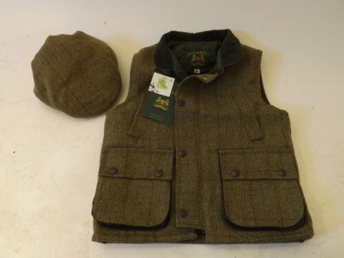 New Kids Boys Girls Quality Wool Green Tweed Waistcoat /& Tweed Flat Cap