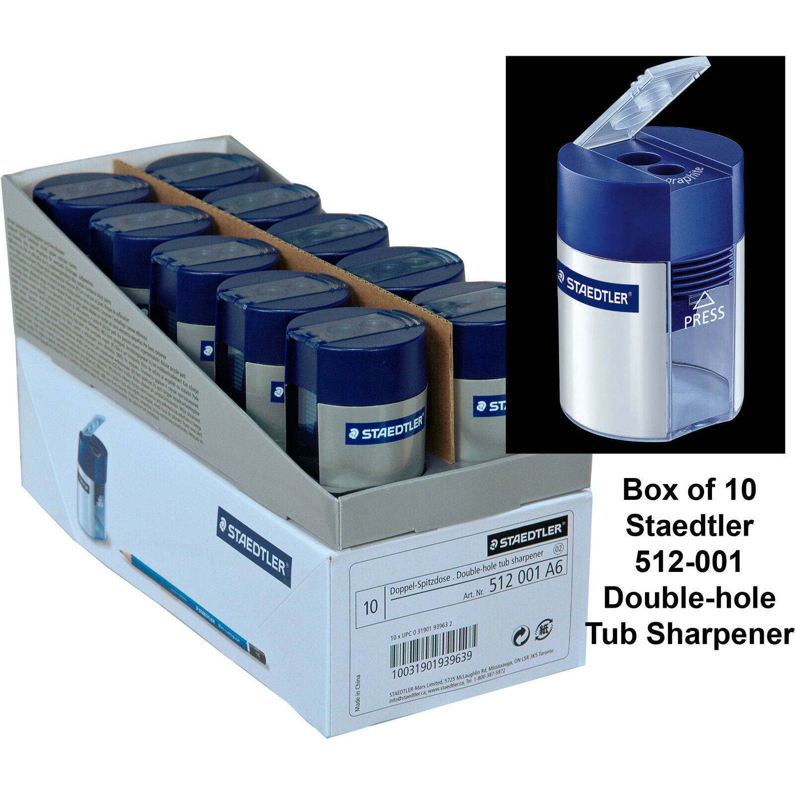 Box of 10, Staedtler 512-001 Double-Hole Tub Pencil Sharpener