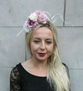 Nude Blush Light Pink Cream Flower Feather Fascinator Headband Hair ... fe950ac2598