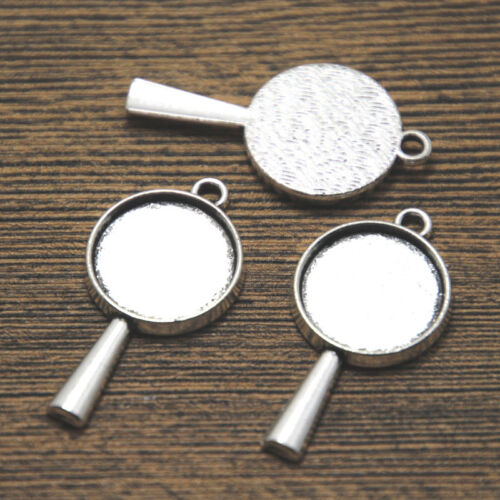 10pcs silver tone star 2 sided magnifying glass charm pendant 33x17mm