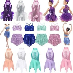 Girls-Kids-Sequins-Ballet-Dance-Tutu-Dress-Gymnastics-Leotard-Dancewear-Costume