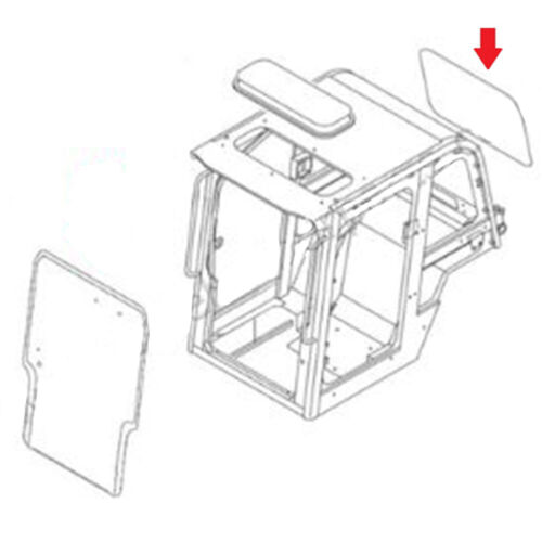 0880865103 Rear Windowpane Glass fits Takeuchi Skid Steer Models TL240 TL250