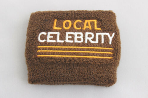 Local Celebrity Terrycloth Wrist Sweatband Brown Embroidered Clout Celeb Status