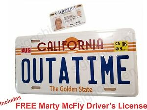 Back-to-the-Future-Delorean-OUTATIME-EMBOSSED-license-plate-With-LICENSE