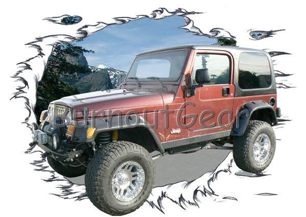 2003 ROT Jeep Wrangler 4X4 a Custom Hot Rod Garage T-Shirt 03 Muscle Car Tees