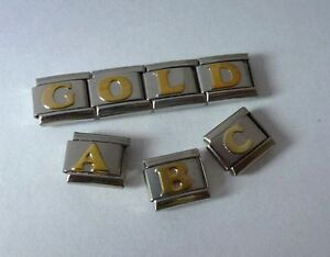 GOLD-ALPHABET-Italian-Charm-Choose-Letters-fits-9mm-Classic-Starter-Bracelets