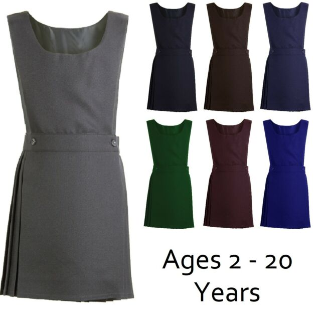 PLEATED BIB HEART 1/&2/&4 BUTTON PINAFORE DRESS GIRLS SCHOOL UNIFORM AGE 2-18 YEAR