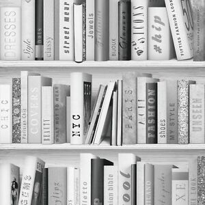 Argent-Mode-Bibliotheque-Papier-Peint-Muriva-139502-Paillette-Livres-Greys