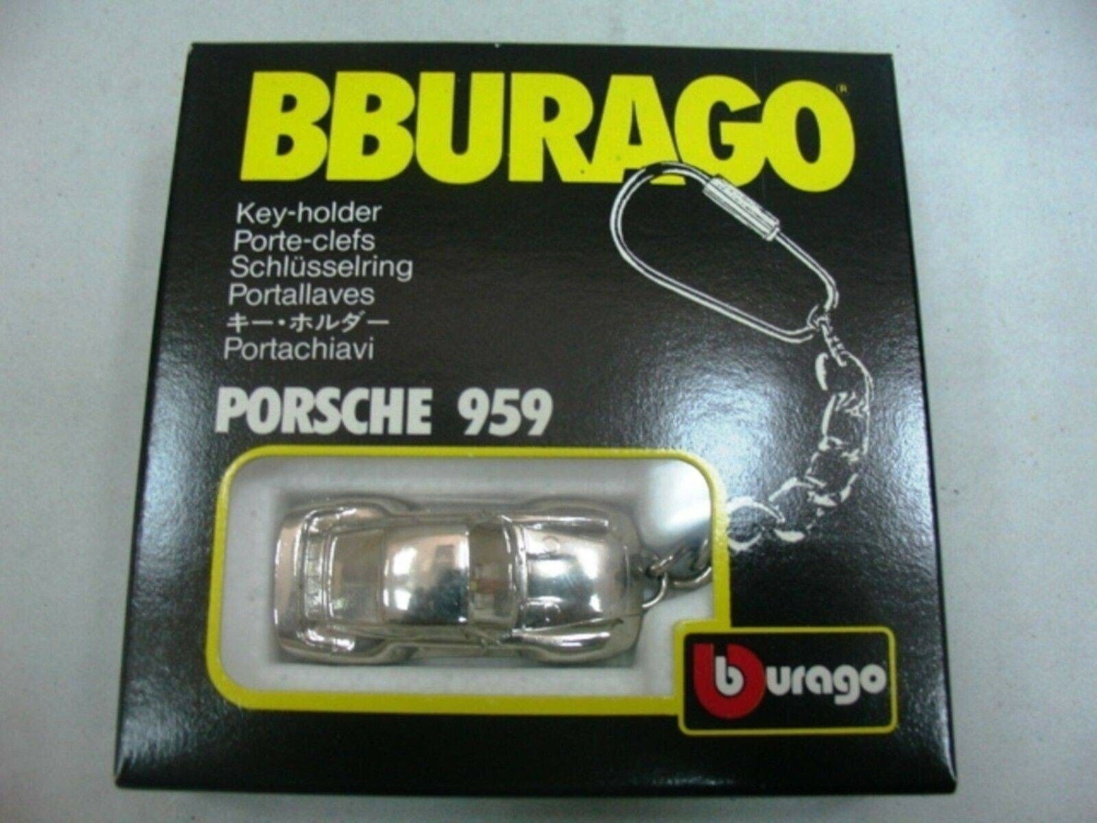 WOW EXTREMELY RARE Porsche 959 Chrome Plated Made in  Keyring 1 87 Burago