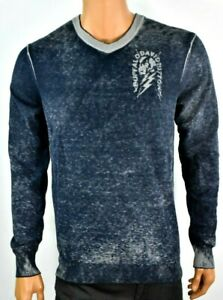 Buffalo-David-Bitton-Mens-Sweater-New-L-Blue-Gray-Long-Sleeves-V-Neck-Pullover