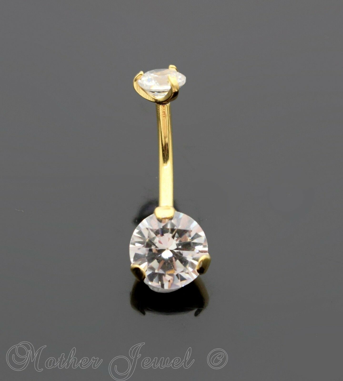 Body Piercing Jewelry 14k Yellow Gold Triple Plated Cross Simulated Diamond Belly Navel Ring Buy Now Engagement & Wedding
