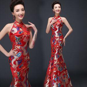 Detalles Acerca De Chino Rojo Satinado Dragón Dorado Royal Vestido Novia Boda Trompeta Qipao Wdress 4 Mostrar Título Original