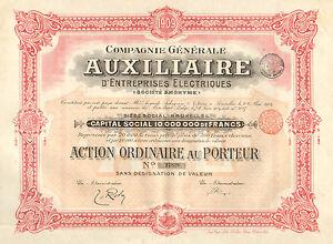 Compagnie-Generale-Auxiliaire-d-Entreprises-Electriques-SA-accion-1909