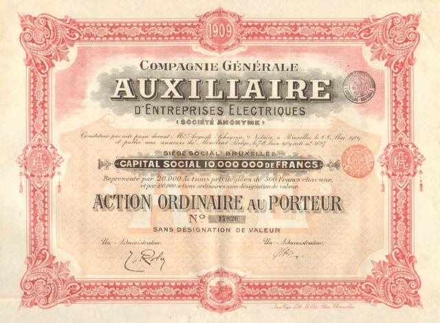Compagnie Generale Auxiliaire d` Entreprises Electriques SA, accion, 1909