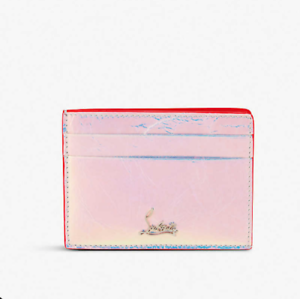 cd5ebf3af2d Details about NIB Christian Louboutin Leather Kios Holographic Silver Logo  Card Holder