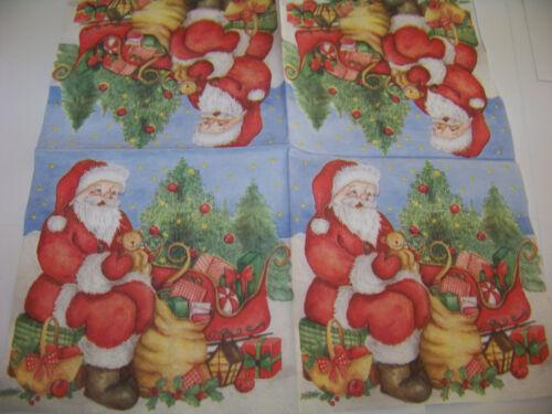 3  Servietten Weihnachten  Weihnachtsmann mit Geschenken  Napkins