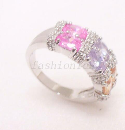 Size 8 P Band Ring White Gold Plated Pink Multi Colour CZ Zirconia Women UK