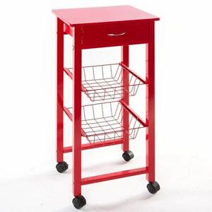 Desserte de cuisine sur roulettes rouge meuble chariot tiroir paniers l gumes ebay - Meuble legume ...