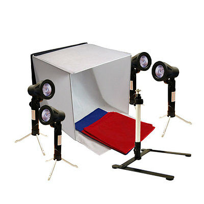 "Photography 24"" Light Box Portable Photo Tent 4 Lighting Stand with Tripod Set"