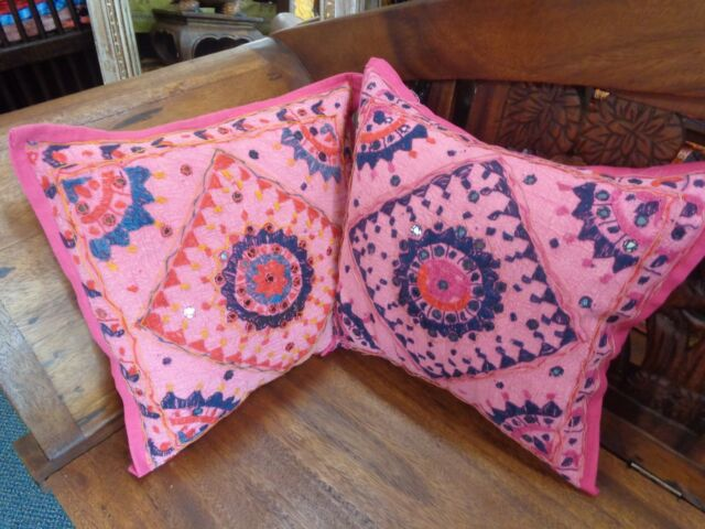 SWEET 1 X INDIAN ETHNIC MIRRORED EMBROIDERED BOHO CUSHION COVER 40X40CM RRP $16