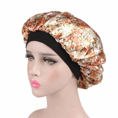 Women Satin Night Sleep Cap Hair Care Bonnet Hat Head Cover Wide Band Elastic