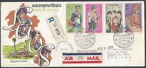 LAOS-1964-REGISTERED-AIR-MAIL-FDC-FEB-15-1964-Sc-100-C43-5-ON-CACHETED-COVER-TO