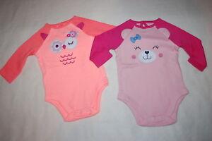 4d83645c8b2a Baby Girls 2 LOT L S BODYSUIT SHIRT Two Tone ORANGE OWL   PINK BEAR ...