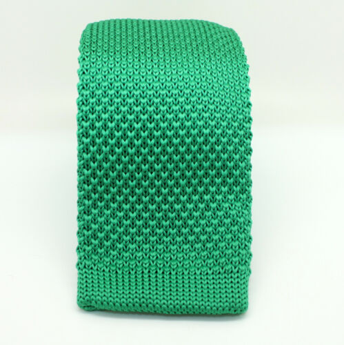 Olive Turquoise Green Handmade Weave Knitted Skinny Fabric Tie Straight End
