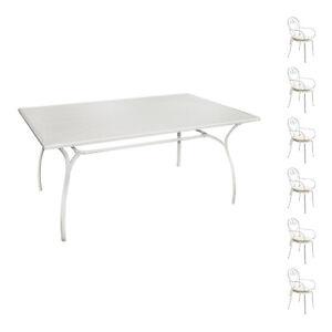 Tavoli E Sedie Da Giardino In Ferro.Set Completo Tavolo E 6 Sedie Da Esterno Con Braccioli In Ferro