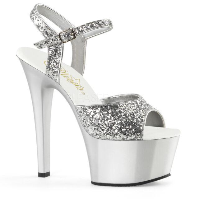 8fd63ae814b2 Pleaser ASPIRE-609G Women s Silver Glitter Matte High Heel Platform Strap  Sandal