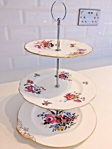Image is loading VINTAGE-Bone-China-CAKE-STAND-Mismatched-3-Tier- & VINTAGE Bone China CAKE STAND Mismatched 3 Tier Floral ROYAL ALBERT ...