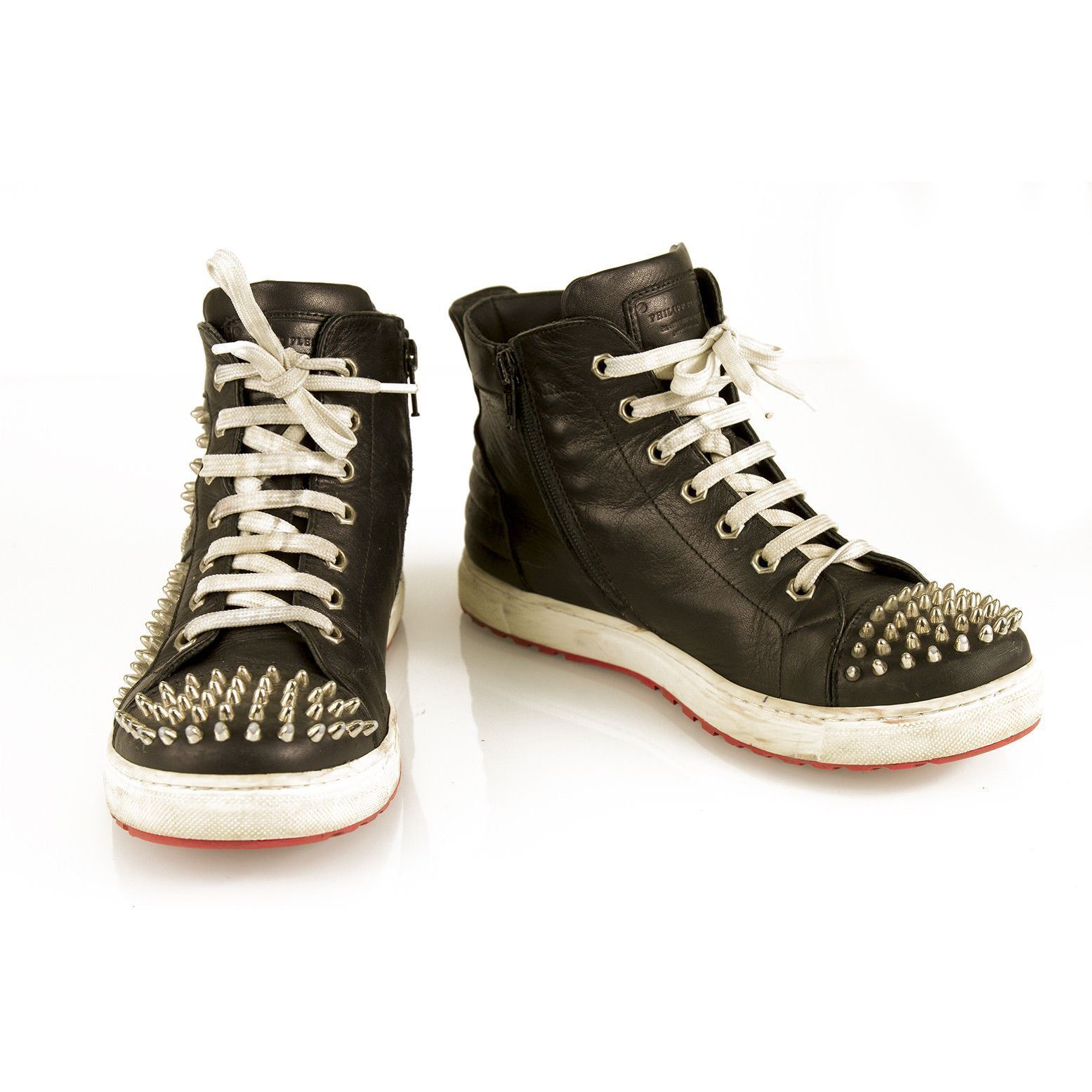 PHILIPP PLEIN  Studded Hi-top Leather Turnschuhe High Top Trainers sz 37 schuhe