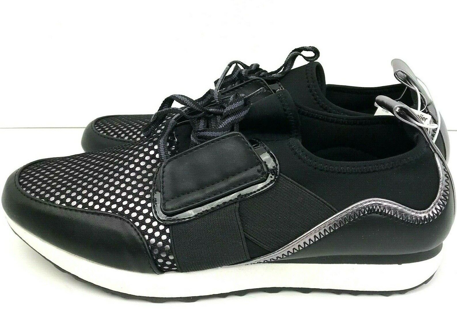 Massini Size 8 Womans Dressy Tennis shoes Black And Silver color Is Amy Black