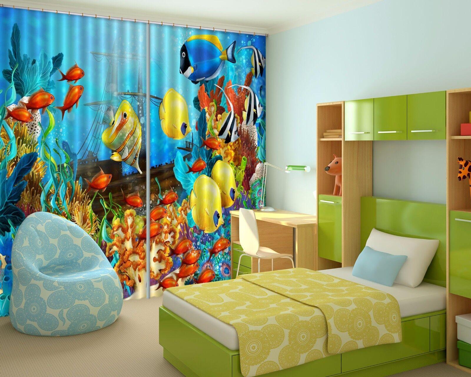 3D peces marinos 6 Cortinas de impresión de cortina de foto Blockout Tela Cortinas Ventana au